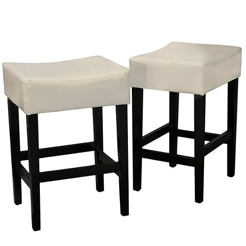 Layla Backless Ivory Leather Counter Stools (Set of 2)