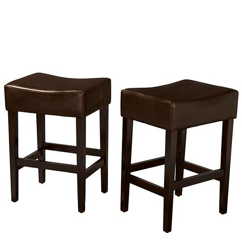 Layla Backless Brown Leather Counter Stools (Set of 2)