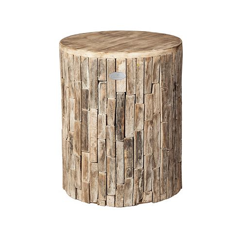 Recycled Wood Plant Stand/Stool/Table, Elyse Round, Driftwood White Wash