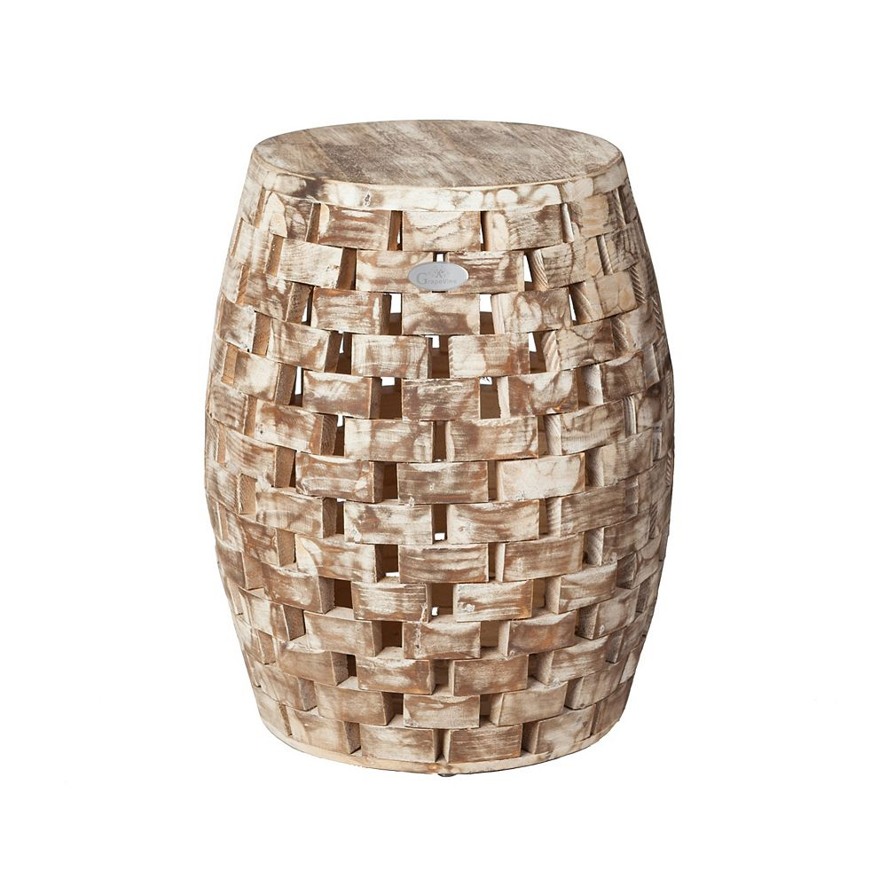 Grapevine Recycled Wood Plant Stand/Stool/Table, Maya Round, Driftwood White Wash
