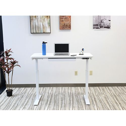 Home Office Style 24-inch x 48-inch Electric Height Adjustable Desk in Snow White