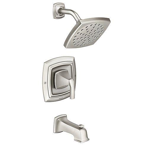 MOEN Robinet de baignoire et de douche Hensley à poignée unique en nickel brossé à résistance ponctuelle (vanne incluse)