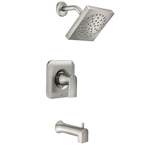 MOEN Genta Single-Handle 1-Spray Tub and Shower Faucet in Spot Resist Brushed Nickel (Valve Included)