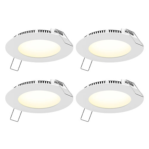 4-inch Round White Panel CCT LED Recessed Lights (4-Pack)