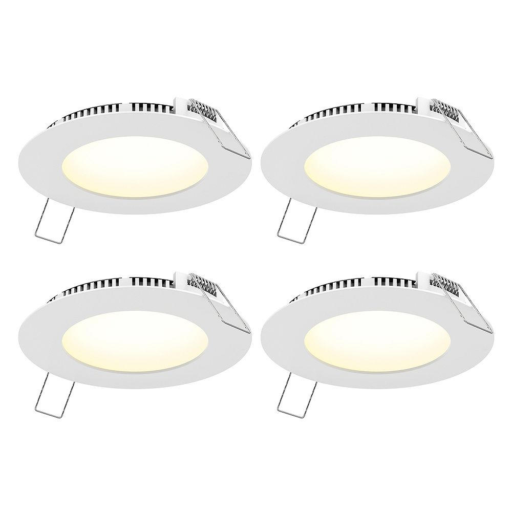 Commercial Electric 4-inch Round White Panel CCT LED Recessed Lights (4-Pack)