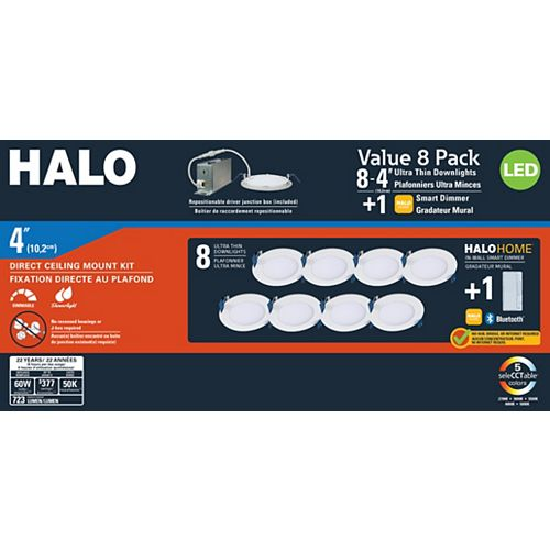 4-inch Round White LED 792 Lumens Selectable Colour Recessed Light (8-Pack)