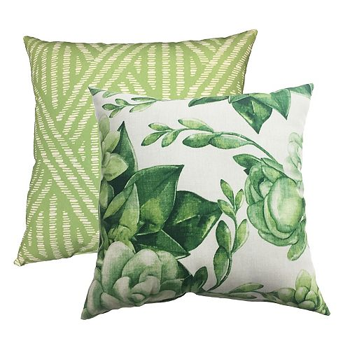 Pillow - 20x20 Spring Succulent Print / Rattan (2-Pack)