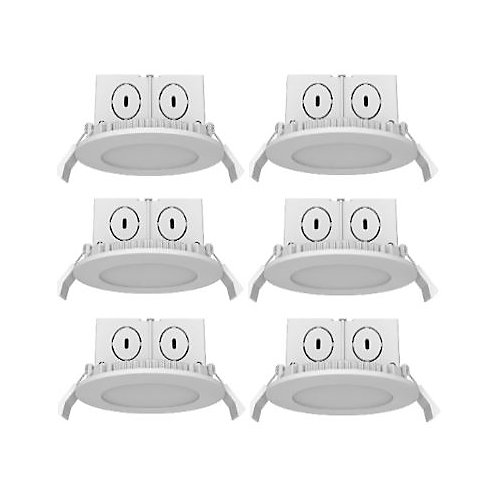 4 po. downlight plat 8.5W 500LM 36000H 30K ES DIM 6 pack