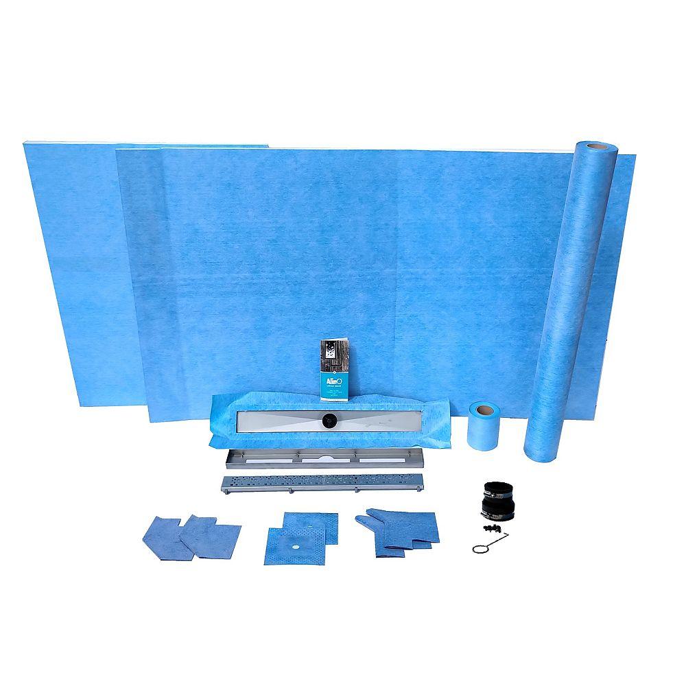 AlinO Kit de douche linéaire de 36 po x 87.5 po avec un drain décentré de 30 po (carré - nickel)