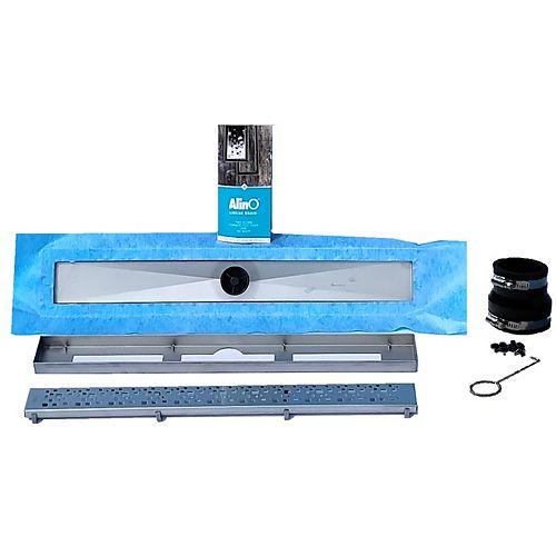AlinO Linear Shower Drain 24-inch (Square - Nickel)