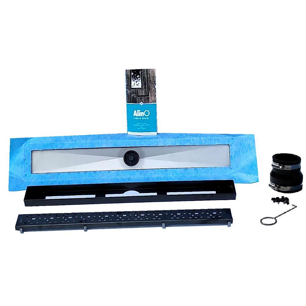 AlinO Linear Shower Drain 30-inch (Square-Black)