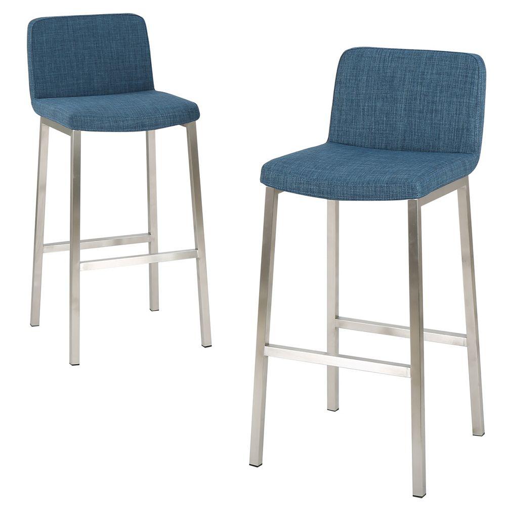 Great Deal Furniture Sara Blue Fabric Barstool (Set of 2)