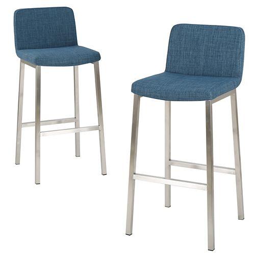 Sara Blue Fabric Barstool (Set of 2)