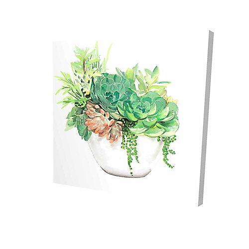 Assortiment De Succulents En Pot Imprimé Sur Toile Tendue Sur Bois, 36 po x 36 po