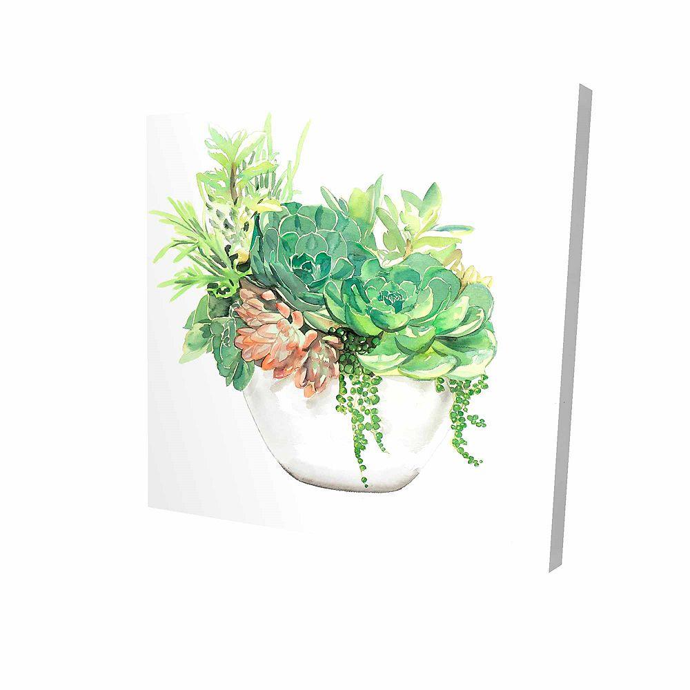 BEGIN EDITION INTERNATIONAL INC. Assortiment De Succulents En Pot Imprimé Sur Toile Tendue Sur Bois, 36 po x 36 po