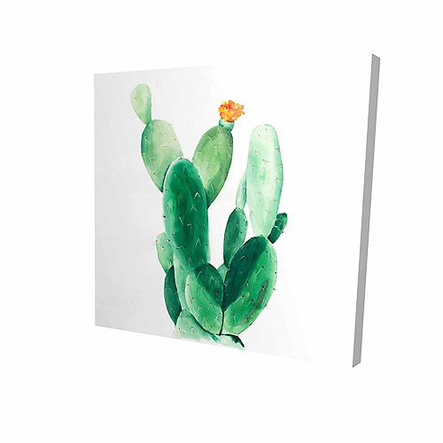Watercolour Paddle Cactus With Flower Printed On Canvas Wrapped On Wood, 36-inch x 36-inch