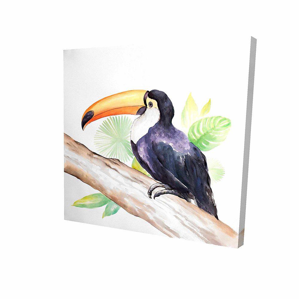BEGIN EDITION INTERNATIONAL INC. Toucan Sur Son Arbre Imprimé Sur Toile Tendue Sur Bois, 36 po x 36 po