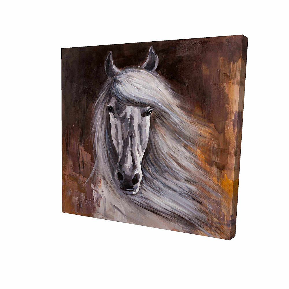 BEGIN EDITION INTERNATIONAL INC. Fier Cheval Blanc Imprimé Sur Toile Tendue Sur Bois, 36 po x 36 po
