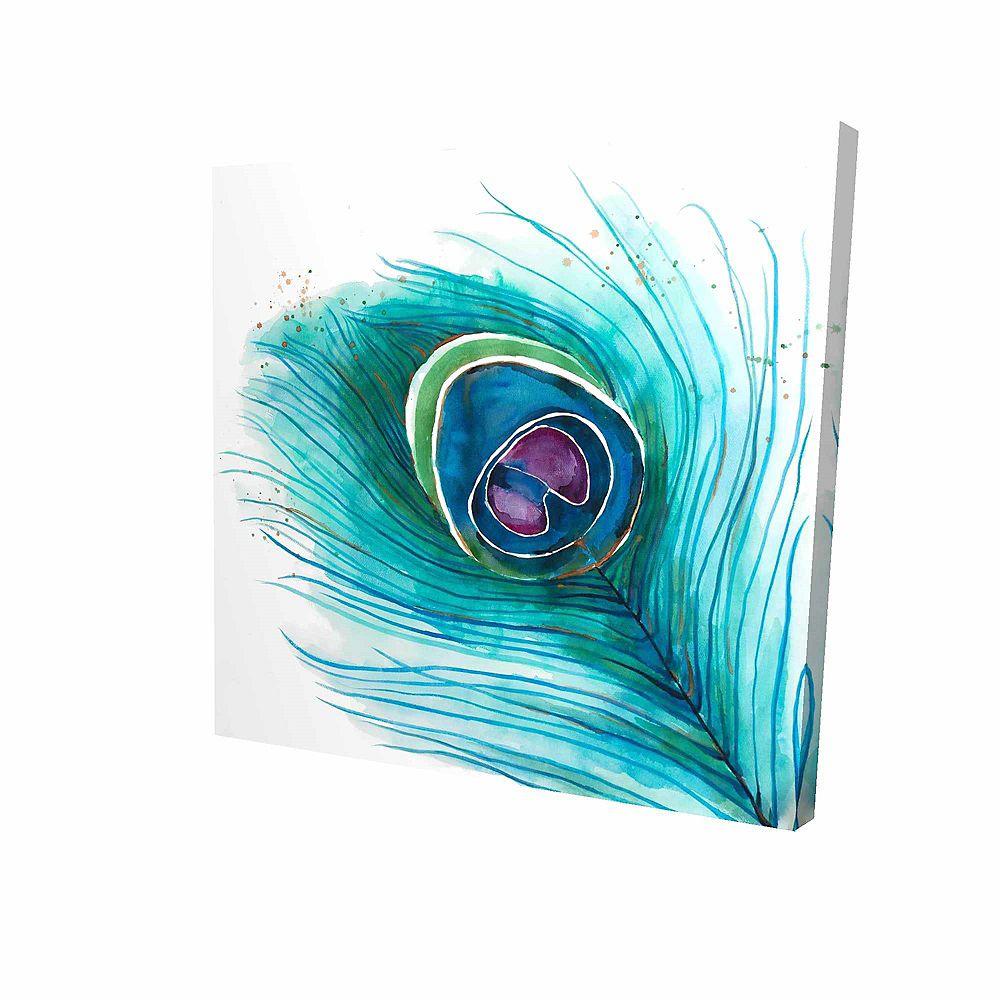 BEGIN EDITION INTERNATIONAL INC. Plan Rapproché D'Une Plume De Paon Imprimé Sur Toile Tendue Sur Bois, 24 po x 24 po