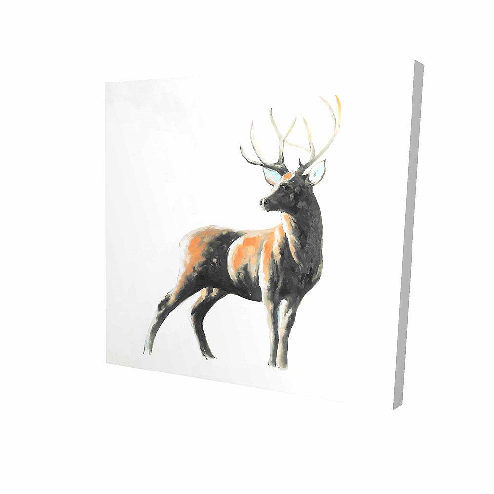 BEGIN EDITION INTERNATIONAL INC. Chevreuil Abstrait Imprimé Sur Toile Tendue Sur Bois, 24 po x 24 po