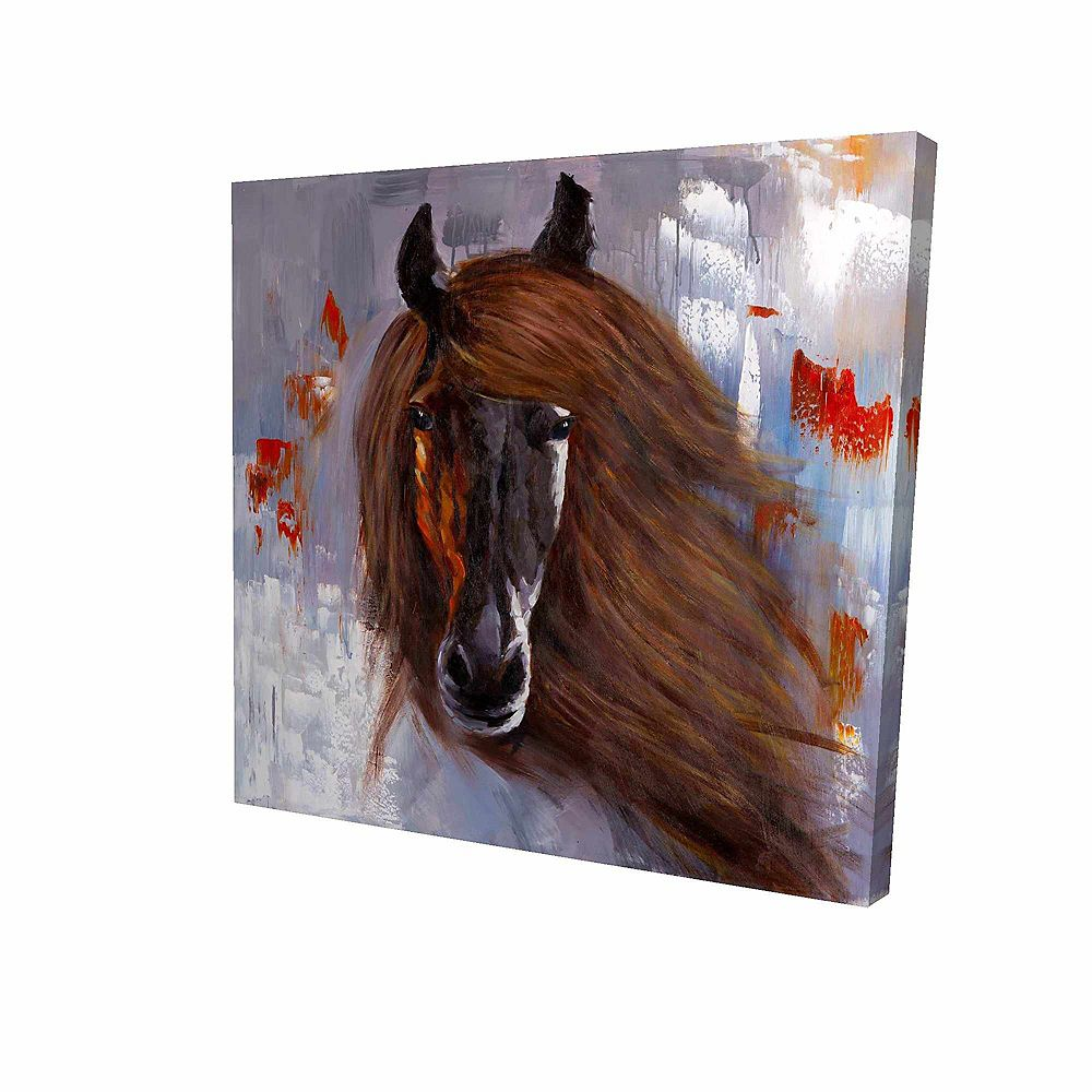 BEGIN EDITION INTERNATIONAL INC. Fier Cheval Brun Imprimé Sur Toile Tendue Sur Bois, 24 po x 24 po