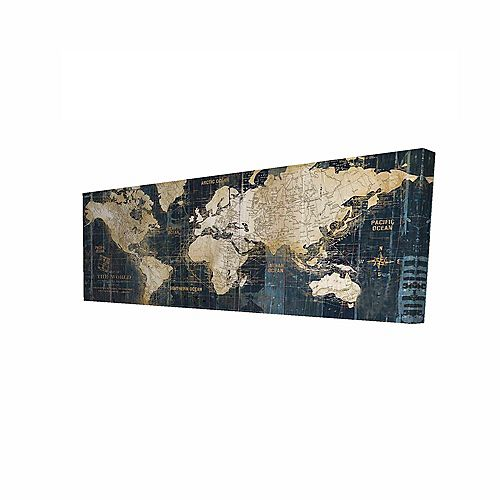 Vintage World Map Printed On Canvas Wrapped On Wood, 20-inch x 60-inch