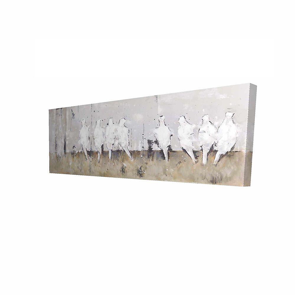 BEGIN EDITION INTERNATIONAL INC. Huit Oiseaux Perchés Imprimé Sur Toile Tendue Sur Bois, 20 po x 60 po