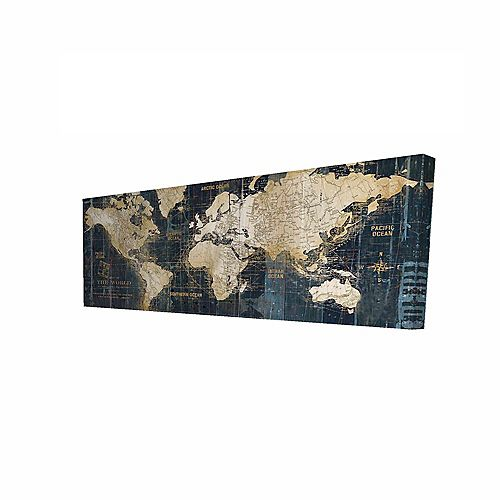 Vintage World Map Printed On Canvas Wrapped On Wood, 16-inch x 48-inch