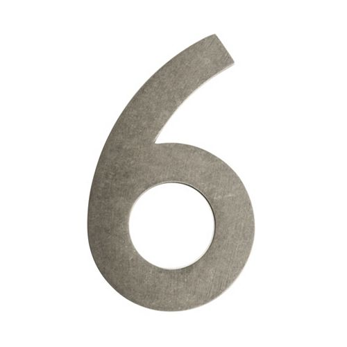 """Architectural Mailboxes Address Number 4 inch. Brass Antique Pewter """"6"""""""