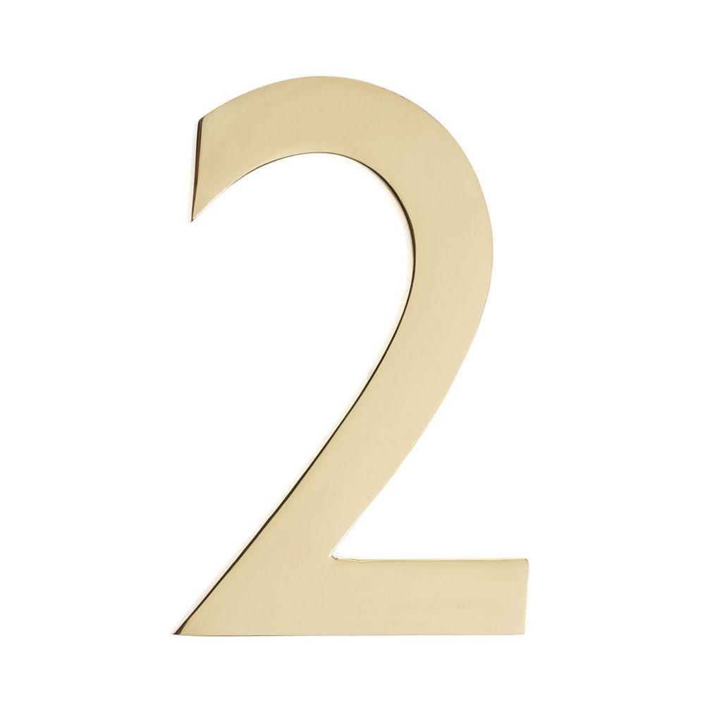 Architectural Mailboxes Numéro pour adresse 4po laiton poli «2»