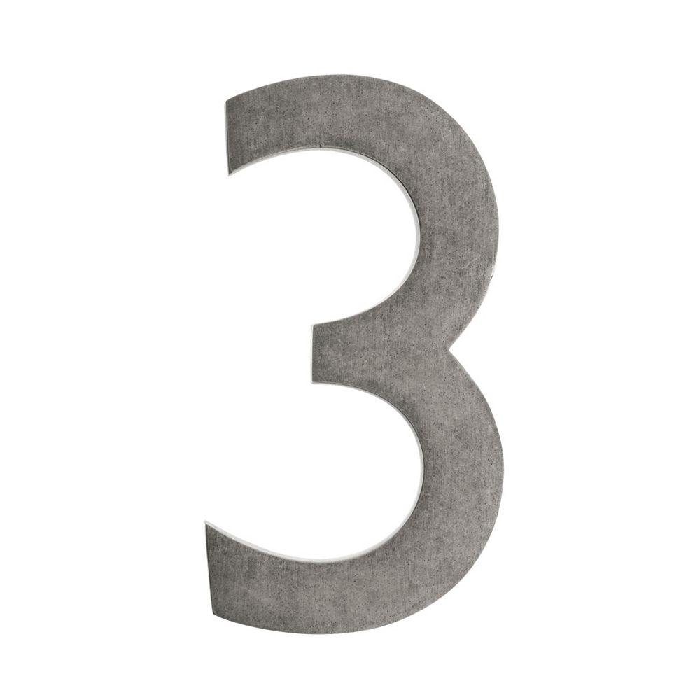 Architectural Mailboxes Numéro pour adresse 5po laiton antique étain «3»