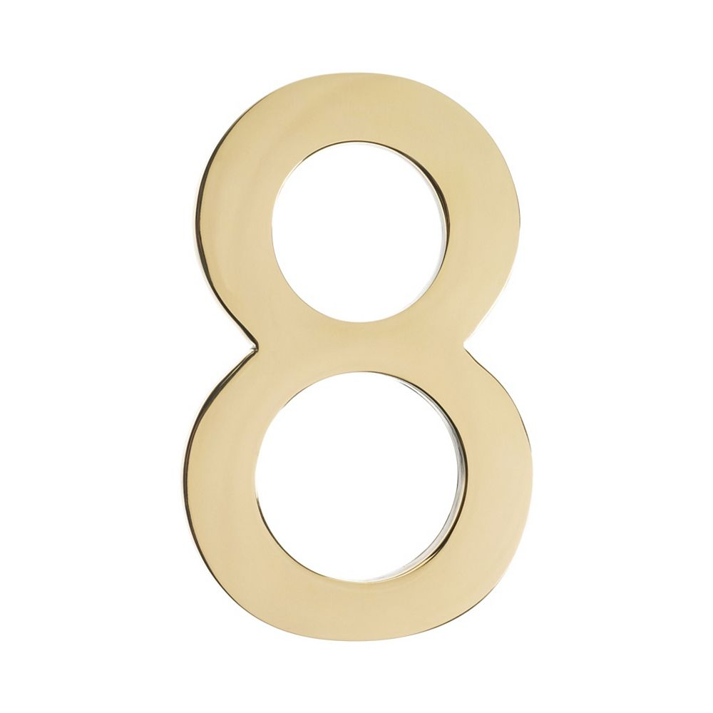 """Architectural Mailboxes Address Number 5 inch. Brass Polished Brass """"8"""""""