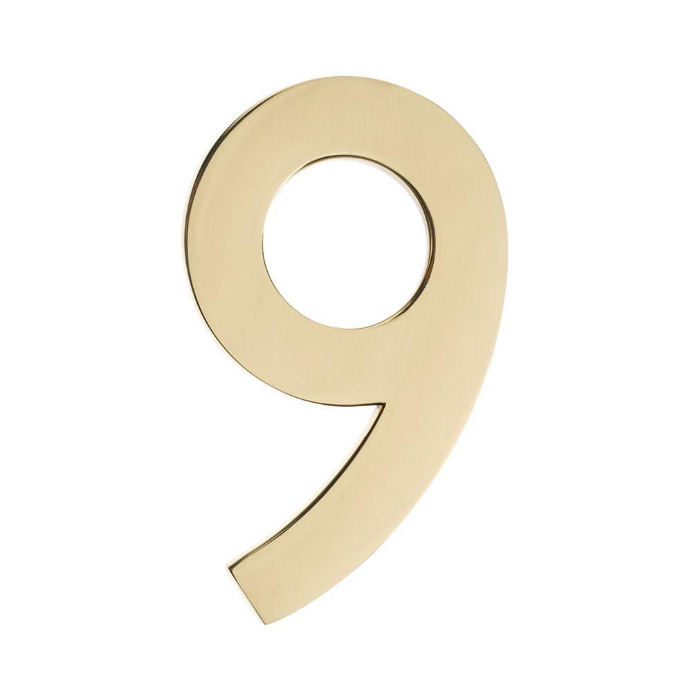 Architectural Mailboxes Numéro pour adresse 5po laiton poli «9»