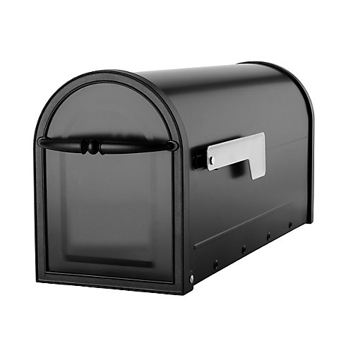 Cambridge Mailbox Black with Nickel Flag Export