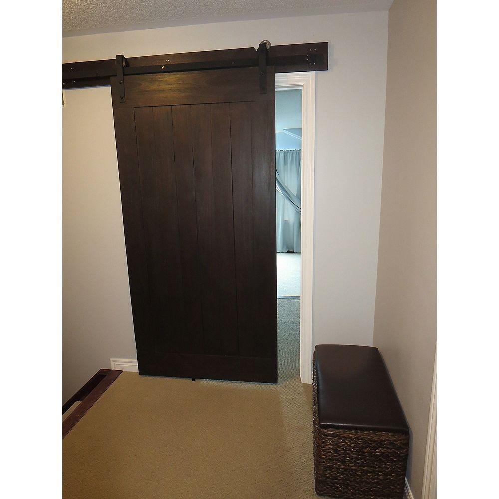 INTERBUILD Porte de grange en acacia , 42 po x 84 po, design classique, brun wengé, avec en-tête et matériel
