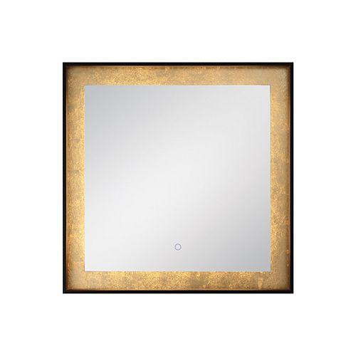 Miroir carré à bord illuminé à DEL à feuille d'or - 33829-012