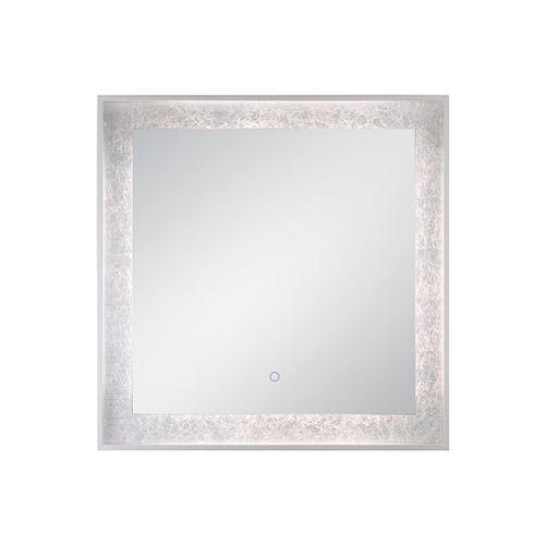 Miroir carré à bord illuminé à DEL à feuille d'argent - 33831-015