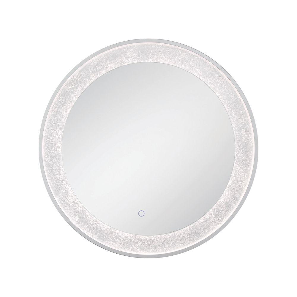 Eurofase Miroir rond à bord illuminé à DEL à feuille d'argent - 33832-012