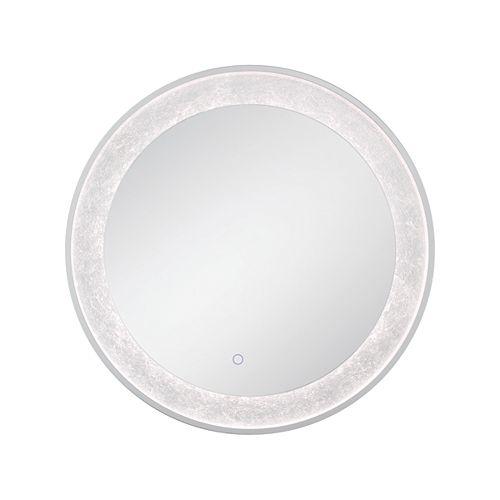 Miroir rond à bord illuminé à DEL à feuille d'argent - 33832-012