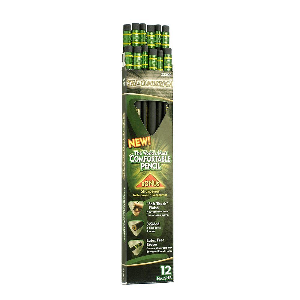 Dixon Tri-Conderoga - Crayon d'écriture triangulaire - HB avec affûteur - 12/ boîte