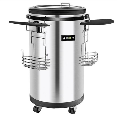 Top Loading Mobile Party Cooler with Digital Temperature- Stainless Steel