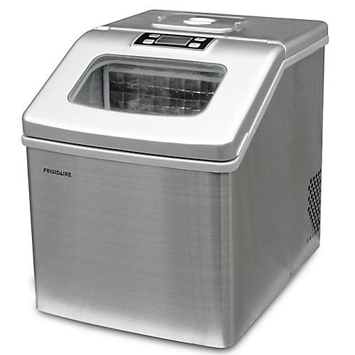 40lbs Compact Clear Square Ice Maker with Window in Stainless Steel