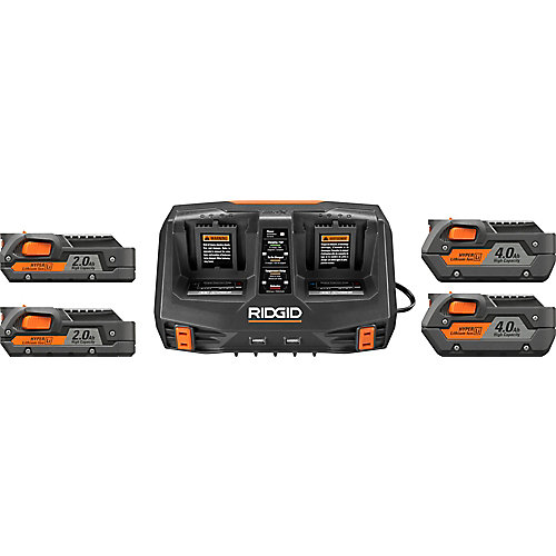 18V Li-Ion Dual Port Sequential Charger Kit with (2) 4.0 Ah Batteries and (2) 2.0 Ah Batteries