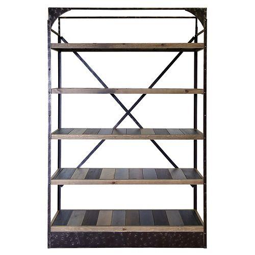 Art Maison Canada 53-inch x 16-inch x 81-inch 5-Shelf Pine Wood Rack