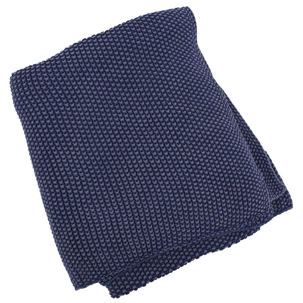 Art Maison Canada 50-inch x 60-inch Denim Moss Stitch Hand Knit Throw