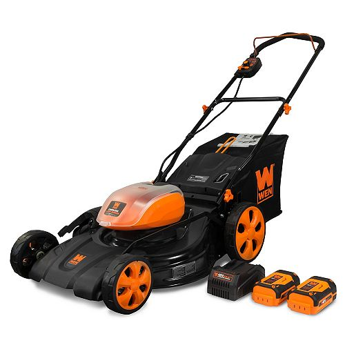 21inch 40Volt Max Lithium-Ion Cordless 3-in-1 Push Lawn Mower with 2-Batteries, 16 Gal Bag & Charger