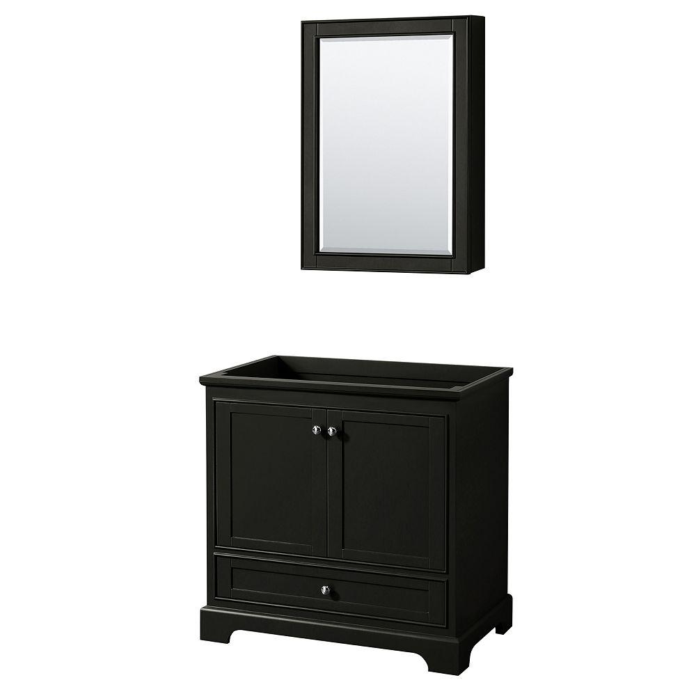 Wyndham Collection Deborah 36 Inch Single Vanity in Dark Espresso, No Counter, No Sink, Medicine Cabinet