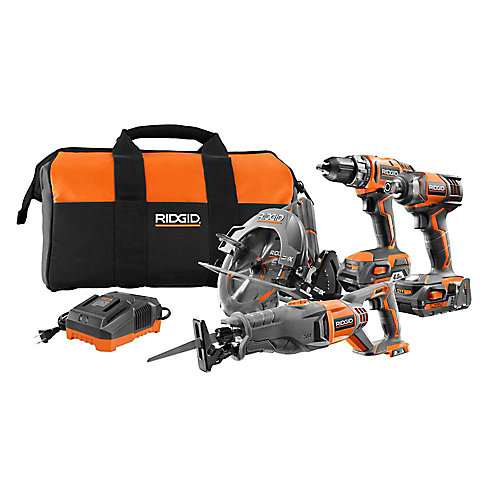 18V 4-Tool Combo Kit with Drill, Impact Driver, Recip Saw, Circular Saw, 2 Batteries, Charger, and Bag