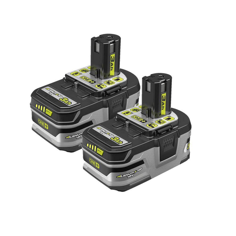 RYOBI 18V ONE+ LITHIUM+ HP 3.0 Ah High Capacity Battery (2-Pack)