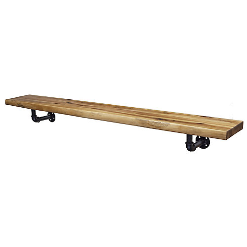 60 inch Live Edge Mantel Shelf with Metal Pipefitter  Corbels